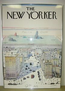 New Yorker Saul Steinberg 1976 Original Art Print  With Framed Rare NYC Poster