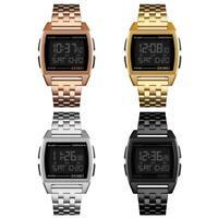 SKMEI Men Luminous Digital Stainless Steel Band Electronic Watch Wrist Watches