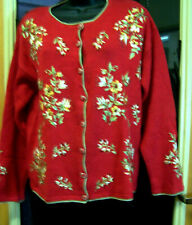 vintage Womens Heirloom Collectibles Ugly Christmas Sweater sz.M Ramie Rn 83437