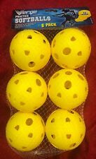 "6-Pack of Neon Yellow 11"" Plastic Softballs, Practice Balls for Training"