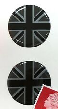 2 x Union Jack Flag Stickers Domed Finish Black & 2 Tone Grey 30mm Diameter