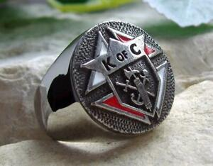 [ SIZE 8 KNIGHTS OF COLUMBUS 3rd DEGREE ] RING BAGUE SILVER STEEL PIN PATCH