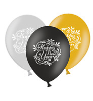 """Happy New Year Flourish - 12"""" GSB  Assorted Printed Latex Balloons pack of 10"""