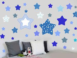 Blue Star Wall Vinyl Stickers - Pack of 46 - Nursery Childrens Boys Mural Decals