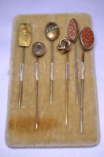 1 Nude, 1 Seed Pearl, 2 Goldstone Lot Of 6 Antique Stickpins & Velvet Display: