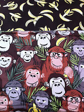 TWO FAT QUARTERS JUNGLE JIVE QUILTING CRAFT FABRIC BY BENARTEX MONKEY & BANANAS