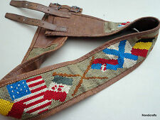 Military Field Money Belt WWII Needlepoint UK USA Allied Flags Leather Buckles
