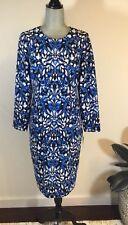 $138 MAGGY LONDON Petites Size 4P Blue Black Long Sleeves Midi Dress Nordstrom