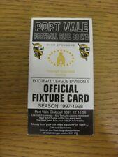 1997/1998 Port Vale: Accesorio oficial Folleto-cuatro páginas (con los resultados se indique).