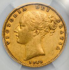 More details for pcgs au-50 1849 queen victoria gold shield sovereign - listed as rare in marsh