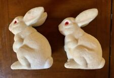"Rare! (2) 7 3/4"" Vintage Paper Mache Easter Rabbit Candy Containers - Twins!"