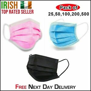 3-Ply Disposable Surgical Face Masks Mouth Protect Guard Cover Breathable Filter
