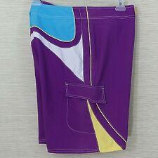 Beach Rays Size 34 Board Shorts Swim Purple Yellow Blue  Street Wear