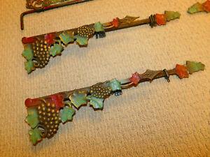 6 Vintage Victorian Art Deco Ornate Swing Arm Curtain Rods Tiebacks Expandable
