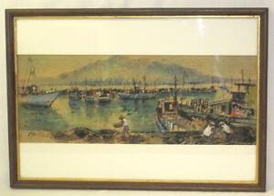 Vintage Watercolor Painting Oriental Harbor Taiwanese Artist James Pan