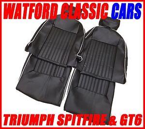 Triumph Spitfire / GT6 Seat Covers 1 pair Black/White Vinyl & headrest covers