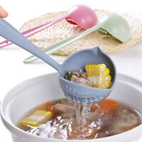 2 in 1 Soup Spoon Long Handle Spoons with Filter Dinnerware Cooking Tools  xl