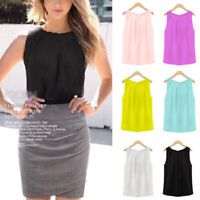Fashion Women Chiffon Sleeveless Vest Tank Tops Camisole Loose T shirts Blouse