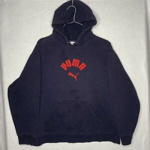 Vintage Puma Hoodie Large Navy Red Embroidered Distressed Big Logo Cat