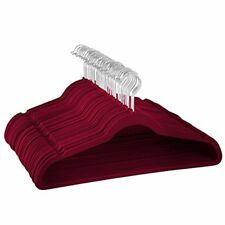Zober Premium Quality Space Saving Velvet Hangers w/Chrome Hook,Burgundy 50 pack