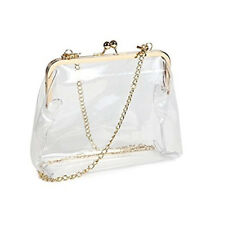 Clear PVC Kiss Lock Chain Cross Body Bag Clutch Waterproof Shoulder Bag