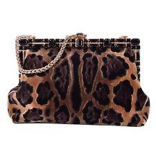 DOLCE & GABBANA Leopard Printed Velvet Crystals Clutch Bag VANDA Black 05763
