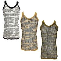 Men's Camo String Mesh Vest 100% Cotton Camouflage Fish Net Fitted String Vest
