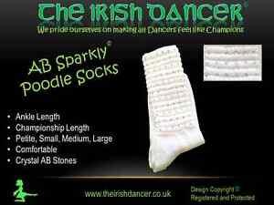AB Sparklys White Ankle Length Diamonted Poodle Socks - Irish Dancing