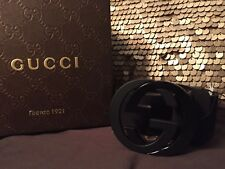 Black Gucci Suede Leather Belt 110cm 44in Fits 38-40 Men