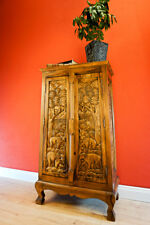 Solid Wood Dresser 100cm Thai Elephant Carving Solid Wood Living Room Wardrobe