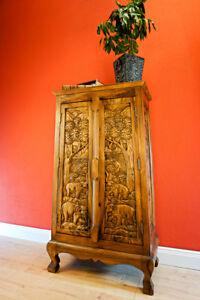 Solid Wood Dresser 39 3/8in Thai Elephant Carving Living Room Wardrobe