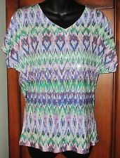 Chico's Multi-Color Size 1 Short Slv Top NWOT Womens Small 8/10 100% Polyester