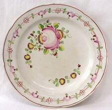 Vintage Queens Rose Soft Paste Plate Pink Rose Yellow Flowers 1850s-60s