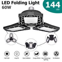 E27 144LED 60W Deformation LED Ceiling Fan Lamp Work Light Folding Garage Lamp