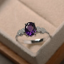 14K Solid White Gold 1.90 Ct Natural Diamond Oval Cut Real Amethyst Ring Size N