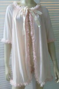 FOSTER REID vintage ladies size W brunch coat 60s pink short nylon sheer sissy
