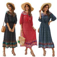 Bohemian Maxi Dress Women Summer Floral Printed Long Party Beach Sundress Kaftan