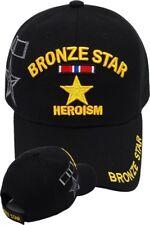BRONZE STAR Ball Cap Heroism OEF OIF WWII Korea Vietnam Gulf War Iraq Hat BLACK