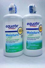 Equate Moisture Last Multi Purpose Solution 16HR Sterile 12 oz Lot of 2 READ.
