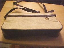 ETIENNE AIGNER Tan Canvan Shoulder Bag Adjustable Straps Medium GUC FREE SHIP