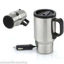 IN-Car 12V Electric Heated Stainless Steel Travel Coffee Mug Cup Thermos Touring