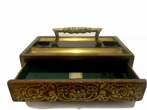 """Authentic """"Rare""""  French Empire Brass Inlaid Inkwell / Inkstand"""