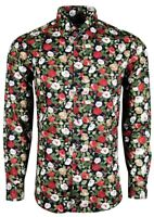 Mens Long Sleeve Retro Floral Smart Casual Flower Tailored Fit Shirt Top 452