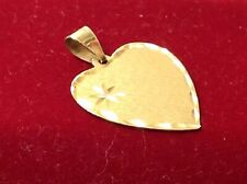 14k Etched Engravable Heart Charm