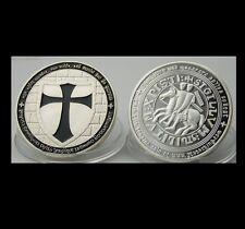 High Quality Masonic Knight's Templar Silver Plated Art Showpiece Freemason Coin