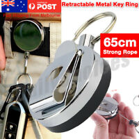 Metal Steel Recoil Key Ring Retractable Pull Chain Holder Reel Belt Clip AU