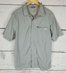 Columbia Hiking Shirt Mens Large Gray Snap Button Up Short Sleeve Outdoor Vented