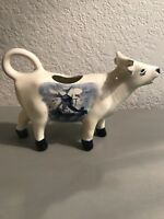 Blue Ceramic Cow Creamer Pitcher Hand Painted delfts Holland Windmill Flowers