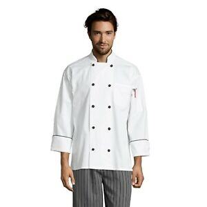 Barcelona executive chef coat, black knot & piping, sizes XS through 3XL, 0408