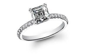 Classy and Sophisticated Asscher Cut Pave Diamond Engagement Ring - GIA